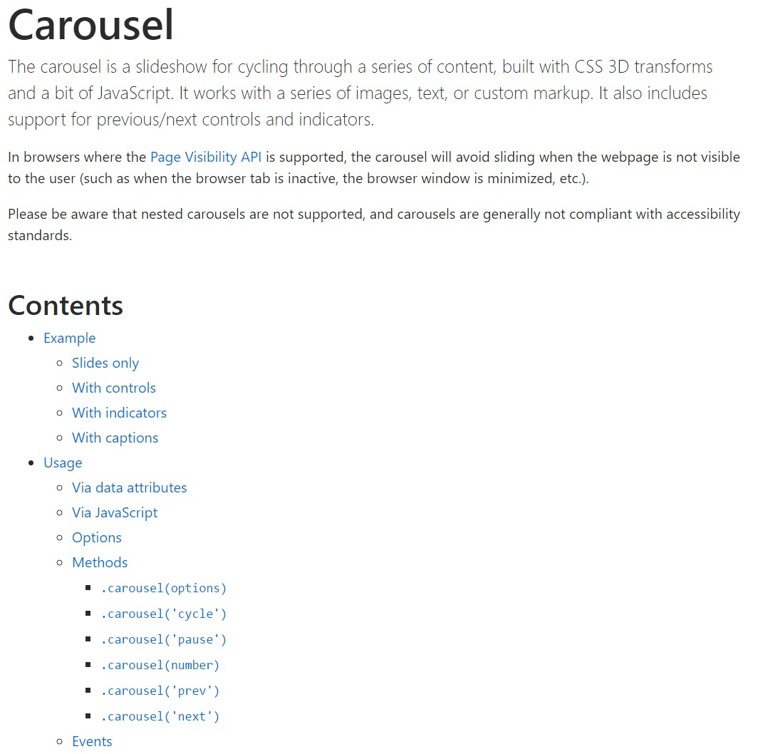Bootstrap carousel official documentation