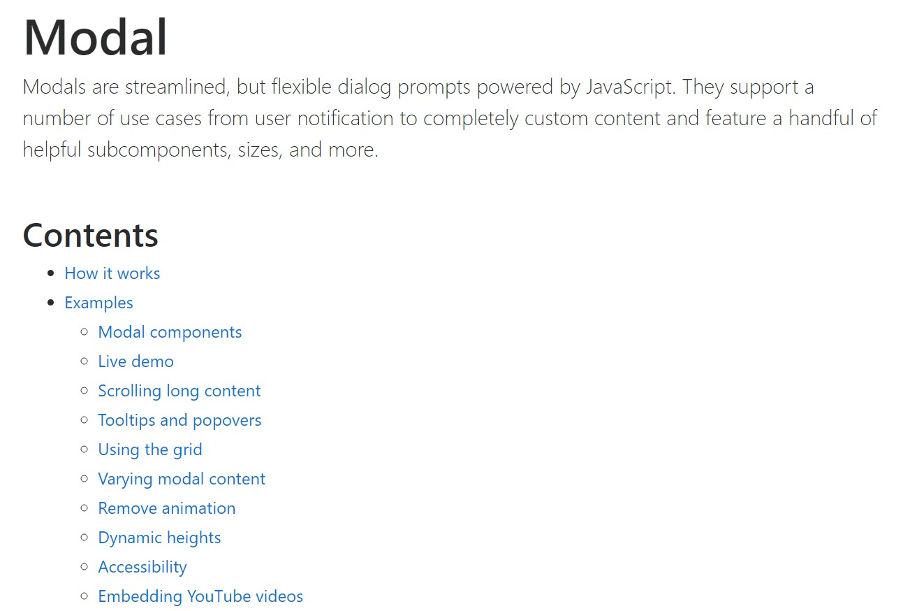 Bootstrap Modal Popup: official  information
