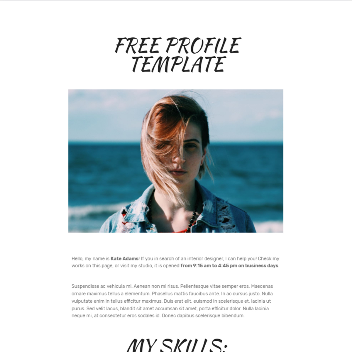 Free Download Bootstrap  Profile Templates