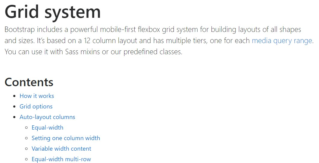 Bootstrap grid official  documents