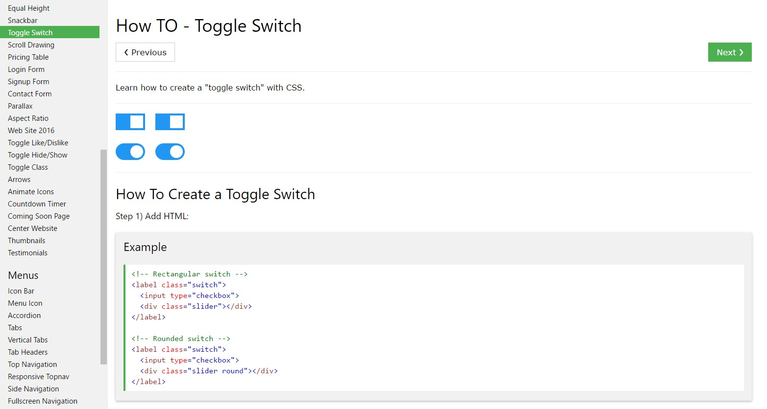 Ways to  establish Toggle Switch