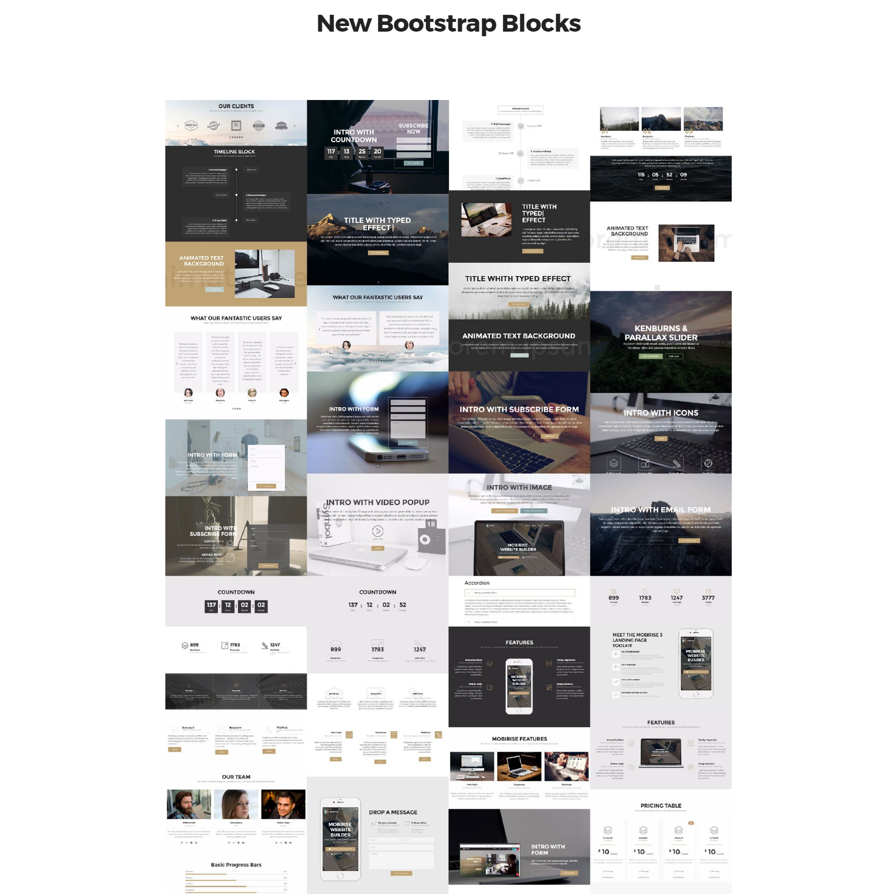 Responsive Bootstrap 4 mobile-friendly blocks Themes